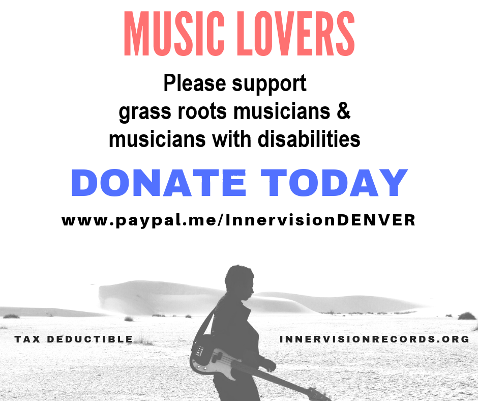 graphic of man walking alone, carrying an electric guitar with text saying to dontate to Innervision through paypal